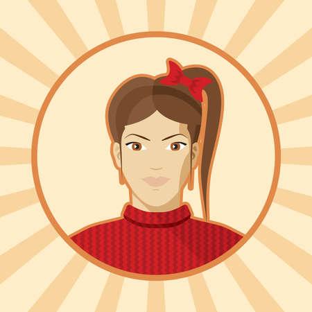 Single woman avatar. Vector