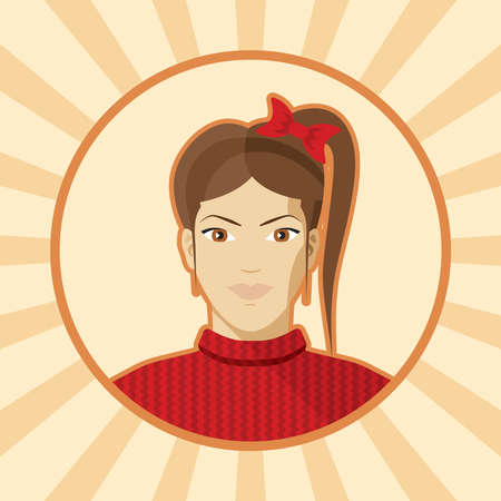 single woman: Single woman avatar. Illustration