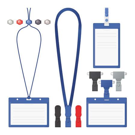 holder: Badge, clip and lanyard vector templates.