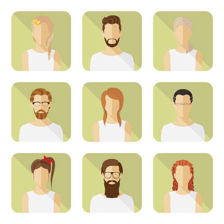 Man and woman vector avatar set in modern flat style. Vector