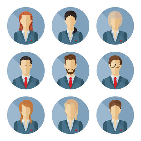 Set of vector business characters in flat design. Vector