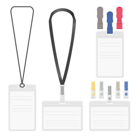 lanyard: Badge, clip and lanyard vector templates.