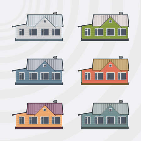 townhouses: Adosados ??vector icon set.