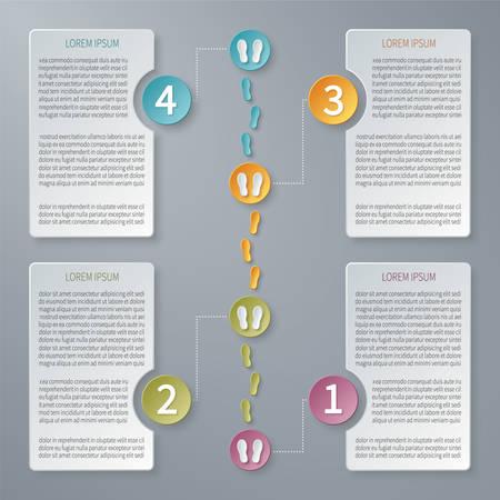 cronologia: Cuatro pasos Linea de tiempo plantilla infografía.
