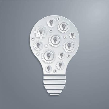 creativity concept: light bulb with cogs gears. Creativity concept. Illustration