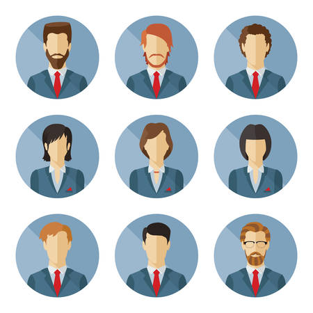 Set of business characters in flat design. Vector