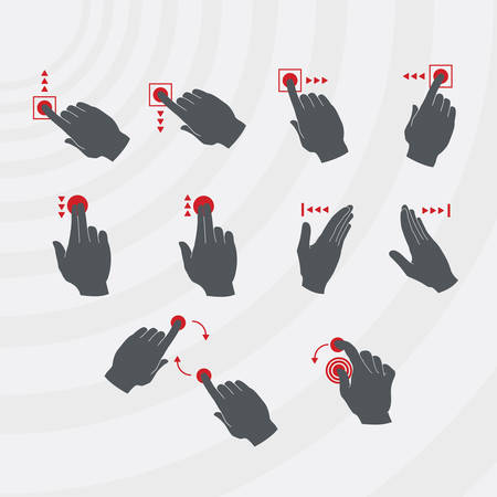 sliding colors: Common smartphone gestures set