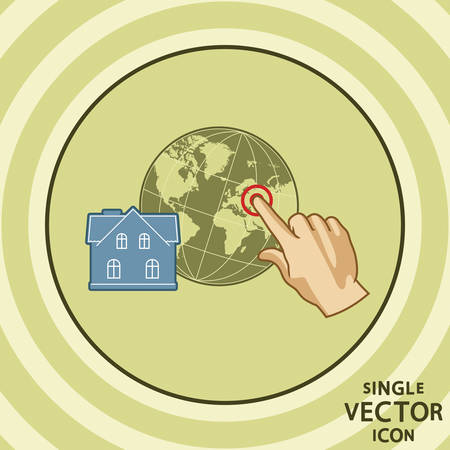 tagging: Single color flat icon  House geo tagging  Illustration