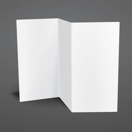 fold back: Blank white vector tri fold brochure template. Illustration