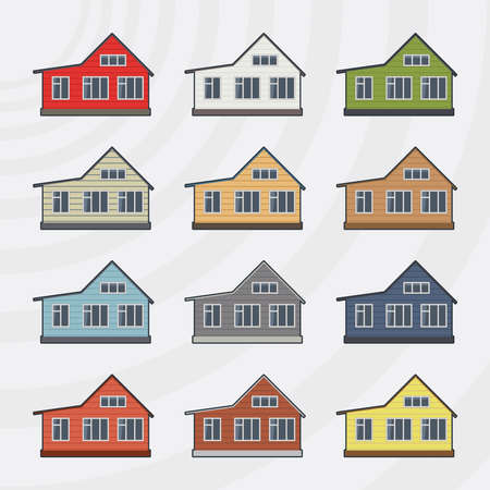 townhouses: Adosados ??conjunto de iconos.