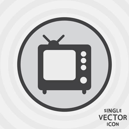 televisor: Single vector monochrome flat icon  TV  Illustration