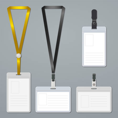 name tag: Badge, clip and lanyard vector templates
