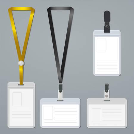 name badge: Badge, clip and lanyard vector templates