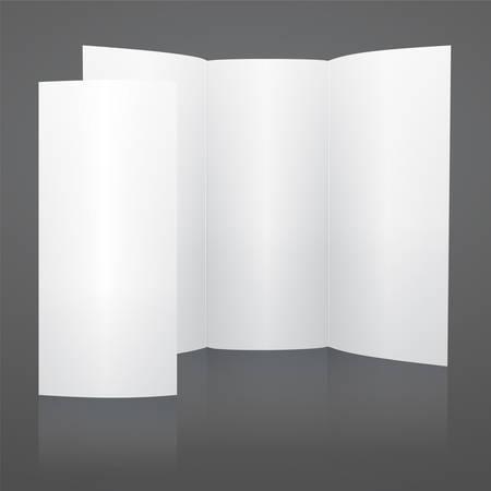 fold back: Blank white vector tri fold brochure template