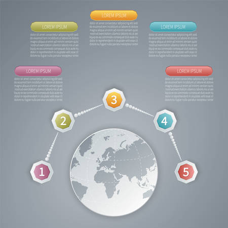 Five steps vector 3D infographic template with world map  Vector