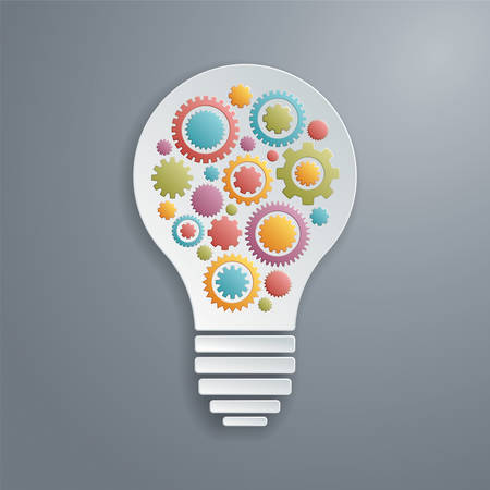 Vector light bulb with gears working together