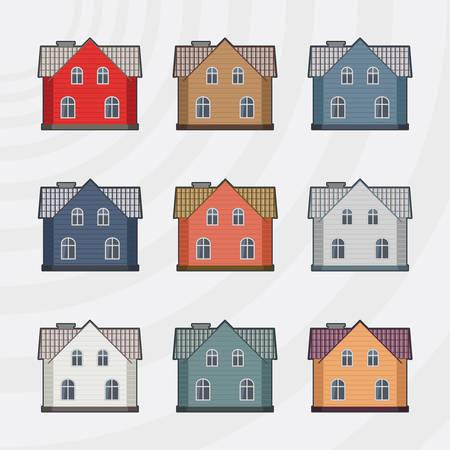 townhouses: Casas Vector Icon Set