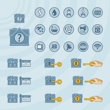 real estate icons: Vector icon set for real estate business