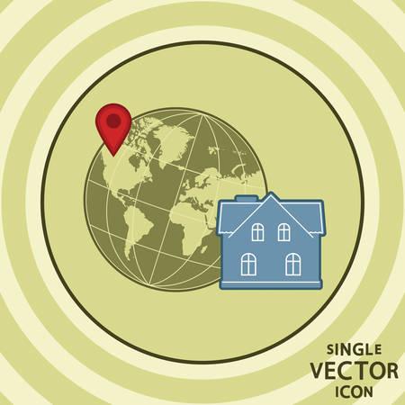 Single vector color flat icon  Hotel location  Vector