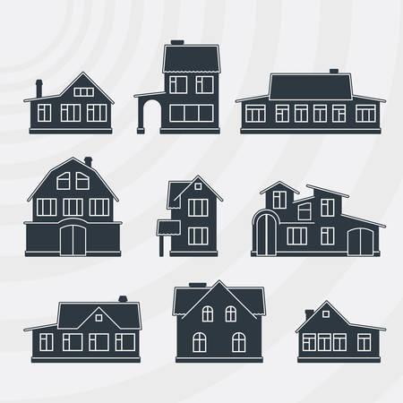 townhouses: Adosados ??vector icon set
