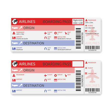 passenger airline: airline boarding pass ticket isolated on white background  Illustration