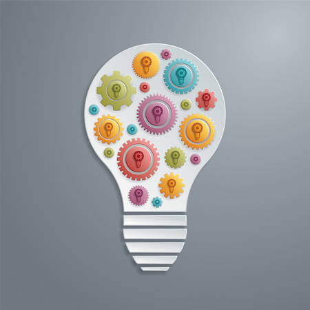 creativity concept: light bulb with cogs gears  Creativity concept