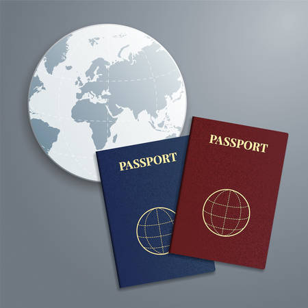passport: international passports with globe