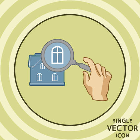palm reading: Single color flat icon  Building details  Illustration