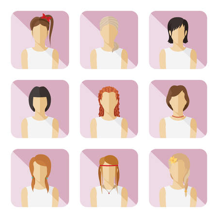 woman shadow: Set of casual characters in flat design  Illustration