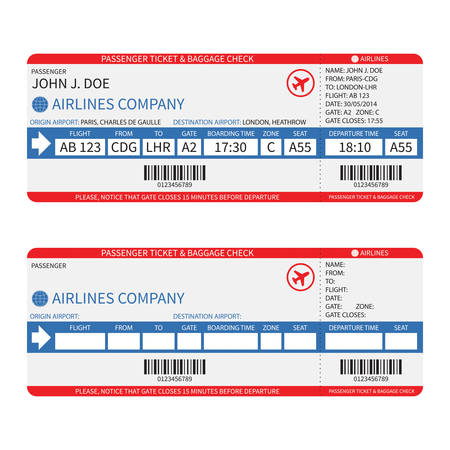 Vector airline passenger and baggage ( boarding pass ) tickets with barcode.