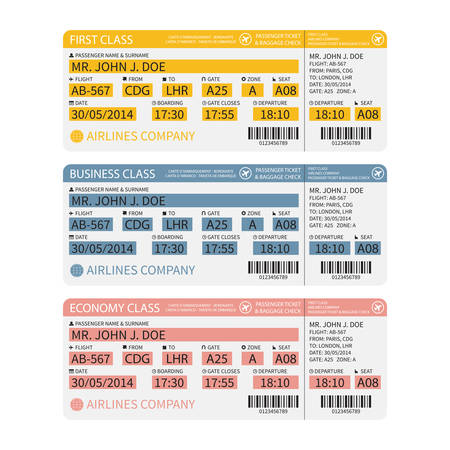 air ticket: Vector airline passenger and baggage ( boarding pass ) tickets with barcode. Illustration
