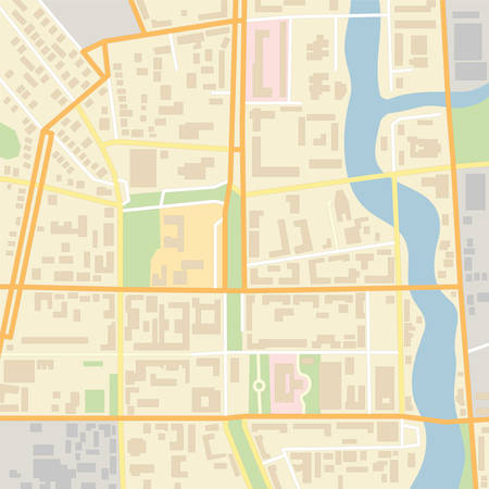 Vector city map with typical locations and objects like roads, houses, river, gardens, parks, industrial zones, hospitals and government. Illustration