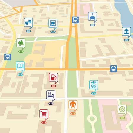 Vector city map with pin location pointers of services like hotel, hospital, supermarket, restaurant, park, shop, bus stop, library, theatre, cinema, garage or car parking.