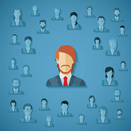 Vector concept of searching for professional stuff, head hunter job, employment issue, human resources management or analysing personnel resume. Ilustração
