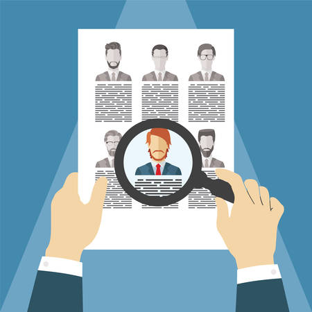 Vector concept of searching for professional stuff, head hunter job, employment issue, human resources management or analysing personnel resume. 일러스트