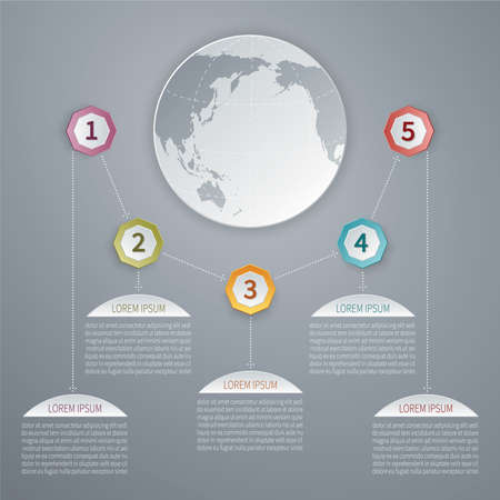 Five steps vector 3D infographic template with world map. Vector