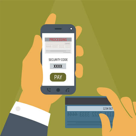 Vector illustration concept of mobile payment application from credit bank card on smartphone screen in man hand. Vector