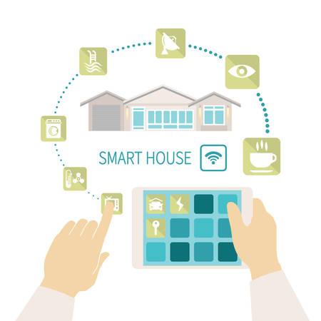 smart: Vector illustratie slimme huis remote wireless management concept met tablet pc