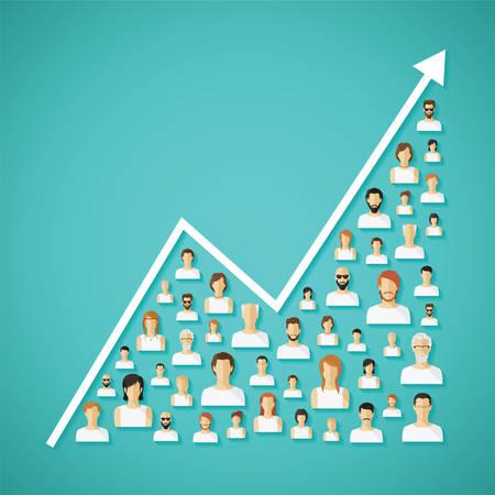 población: Vector de la población y la demografía de la red social Concepto growh con iconos humanos planas.