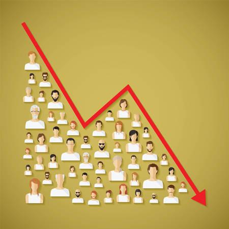 Wektor społecznościowy spadek ludności i demografia płaskich człowieka koncepcja z ikonami.