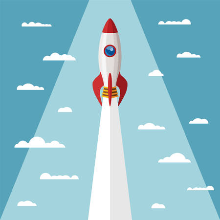 Vector concept of start up new business project with rocket and clouds.