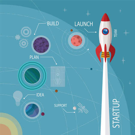 at the start: Vector concept of start up new business project infographic with rocket and planet system in open space.