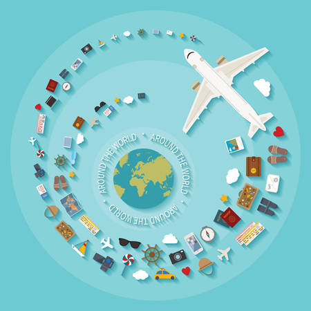 Vector modern flat style concept for tourism industry, travelling on airplane, planning summer vacations. 일러스트