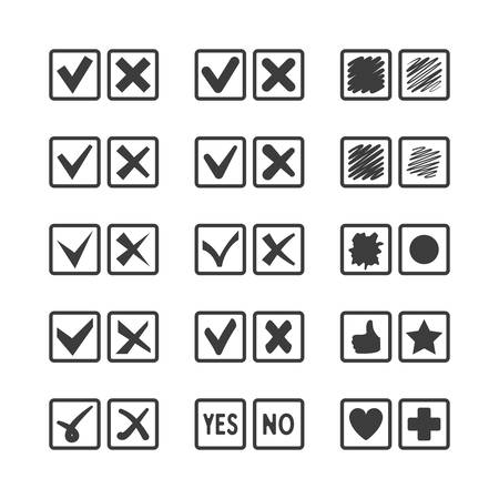 Set Of Different Vector Check Box Icons For Voting Agreement