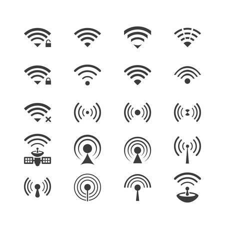 wifi access: Set di icone vettoriali senza fili per la connessione wifi controllo di accesso remoto e di comunicazione radio Vettoriali