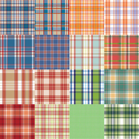 holey: Big vector tartan textile texture set