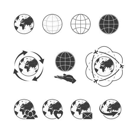demography: Travelling vector icon set with globe earth on white background Illustration