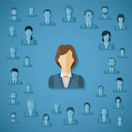 headhunter: Vector concept of searching for professional stuff, head hunter job, employment issue, human resources management or analysing personnel resume
