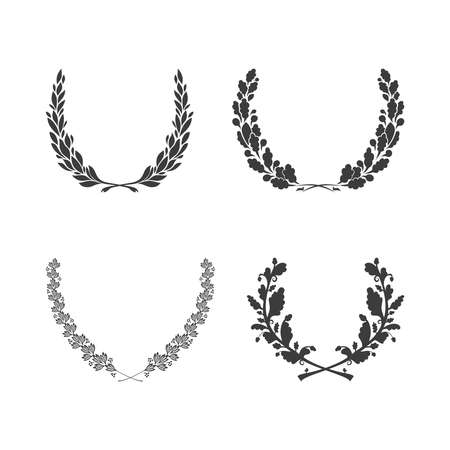 laurel leaf: Set of vector black and white circular foliate wreaths for award achievement heraldry and nobility