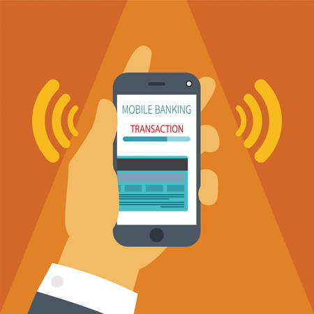 mobile banking: Vector illustration concept of mobile payment application from credit bank card on smartphone screen in man hand